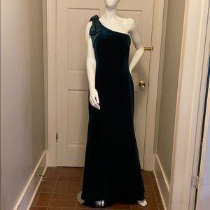 Velvet emerald evening gown